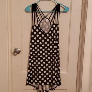 Tops - Black and white polka dot tank top tunic